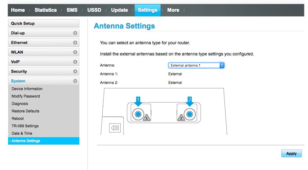 Antenna Settings LTE Huawei