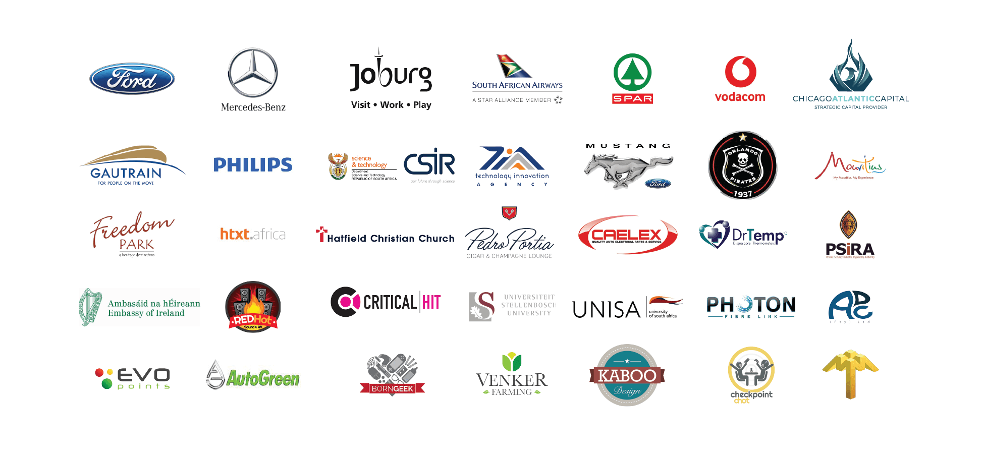 Client List, Portfolio, Ford, Mercedes-Benz, SAA, South African Airways, SPAR, Vodacom, Chicago Atlantic Capital, Gautrain, PHILIPS, CSIR, TIA, Mustang, Orlando Pirates, Mauritius, PSIRA, Freedom Park
